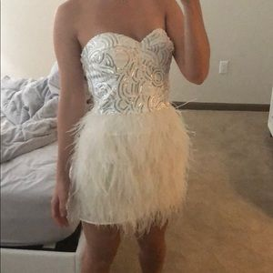 Stunning Bebe feather dress